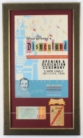 "Walt Disney's ""Disneyland Opening Day"" 16x27 Custom Framed Print Display with Vintage Ticket Book, Vintage Parking Pass & Employee Patch at PristineAuction.com"