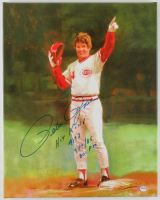"Pete Rose Signed LE Reds 16x20 Print on Canvas Inscribed ""Hit King 4192 9/11/85 801 PM"" (PSA Hologram) at PristineAuction.com"