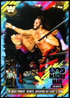 Macho Man Randy Savage 2018 Topps WWE Tribute 5x7 #27 The Mega Powers Reunite, Defeating Ric Flair's Team at PristineAuction.com
