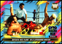 Macho Man Randy Savage 2018 Topps WWE Tribute 5x7 #28 Defeats Ric Flair in a Lifeguard Match at PristineAuction.com