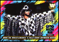 Macho Man Randy Savage 2018 Topps WWE Tribute 5x7 #25 Wins the WrestleMania X Falls Count Anywhere Match at PristineAuction.com