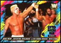 Macho Man Randy Savage 2018 Topps WWE Tribute 5x7 #26 Joins WCW, Defeating Avalanche & Big Bubba Rogers with Sting at PristineAuction.com