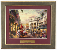 "Thomas Kinkade Walt Disney's ""Mickey & Minnie Mouse in Beverly Hills"" 14.5x16.5 Custom Framed Print Display at PristineAuction.com"