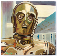 "Anthony Daniels Signed Star Wars ""C-3PO"" 18x18 Painting On Stretched Canvas (Legends Hologram) at PristineAuction.com"
