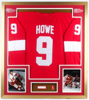 Gordie Howe Signed Red Wings 32x36 Custom Framed Cut Display with Jersey & Jersey Retirement Pin (PSA COA) at PristineAuction.com