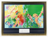 LeRoy Neiman Signed 27x36 Custom Framed Cut Display with Vintage Lithograph of Jack Nicklaus, Arnold Palmer, Sam Snead & Ben Hogan (PSA COA) at PristineAuction.com