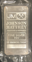 "10 Troy Oz .999 Fine Silver ""Johnson Matthey"" Bullion Bar at PristineAuction.com"