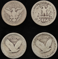 Lot of (4) Quarters With Standing Liberty & Barber Quarters at PristineAuction.com