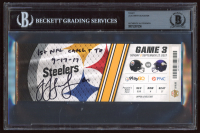 "JuJu Smith-Schuster Signed 2017 Steelers vs Vikings Game Ticket Inscribed ""1st NFL Catch TD"" & ""9-17-17"" (BGS Encapsulated) at PristineAuction.com"