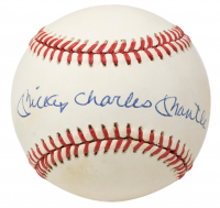 Mickey Charles Mantle Signed OAL Baseball with Display Case (JSA LOA) at PristineAuction.com