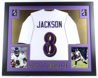 Lamar Jackson Signed 35x43 Custom Framed Jersey (JSA COA) (Imperfect) at PristineAuction.com
