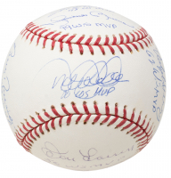 Yankees MVP Signed OML Baseball Signed by (11) Including Derek Jeter, Mariano Rivera, Whitey Ford, Reggie Jackson with Multiple Inscriptions (Steiner COA) at PristineAuction.com