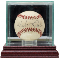 Babe Ruth Signed OL Baseball with Display Case (PSA LOA) at PristineAuction.com
