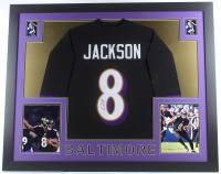 Lamar Jackson Signed 35x43 Custom Framed Jersey (JSA COA) (Imperfect) at PristineAuction.com