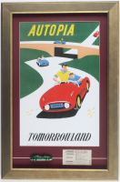 "Disneyland ""Autopia"" 16x24 Custom Framed Print Display with Vintage Ticket & Vintage Resin ""Autopia"" Car Souvenir at PristineAuction.com"