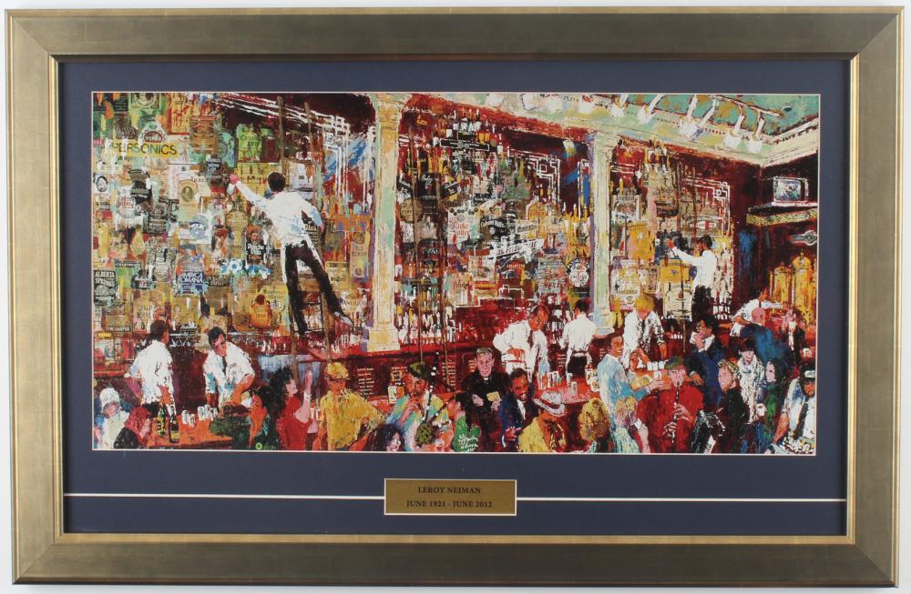 "LeRoy Neiman ""Irish Bar Scene"" 17x26 Custom Framed Print Display at PristineAuction.com"