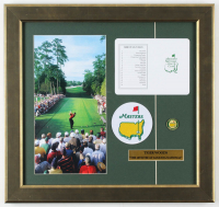 """Tiger Woods """"Masters"""" 16.5x17.5 Custom Framed Display with Official Augusta National Score Card & Masters Pin at PristineAuction.com"""