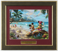 "Thomas Kinkade Walt Disney's ""Mickey and Minnie Mouse in Hawaii"" 14.5x16.5 Custom Framed Print Display at PristineAuction.com"
