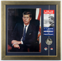 John F. Kennedy 20.5x20.5 Custom Framed 1960's Large Lithograph Display with Pamphlet, (2) Campaign Pins & Refractor Pin at PristineAuction.com