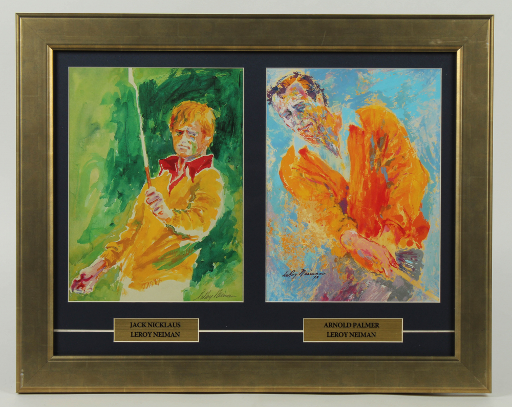 "LeRoy Neiman ""Arnold Palmer & Jack Nicklaus"" 15.5x20.5 Custom Framed Print Display at PristineAuction.com"