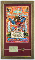 "Disneyland ""Pirates Of The Caribbean"" 16x27 Custom Framed Poster Display with ""E"" Ride Ticket & Bronze Emblem at PristineAuction.com"