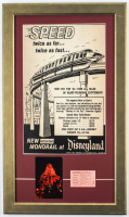 "Disneyland ""Monorail"" 16x27 Custom Framed Poster Display with ""E"" Ride Ticket & Vintage Postcard at PristineAuction.com"
