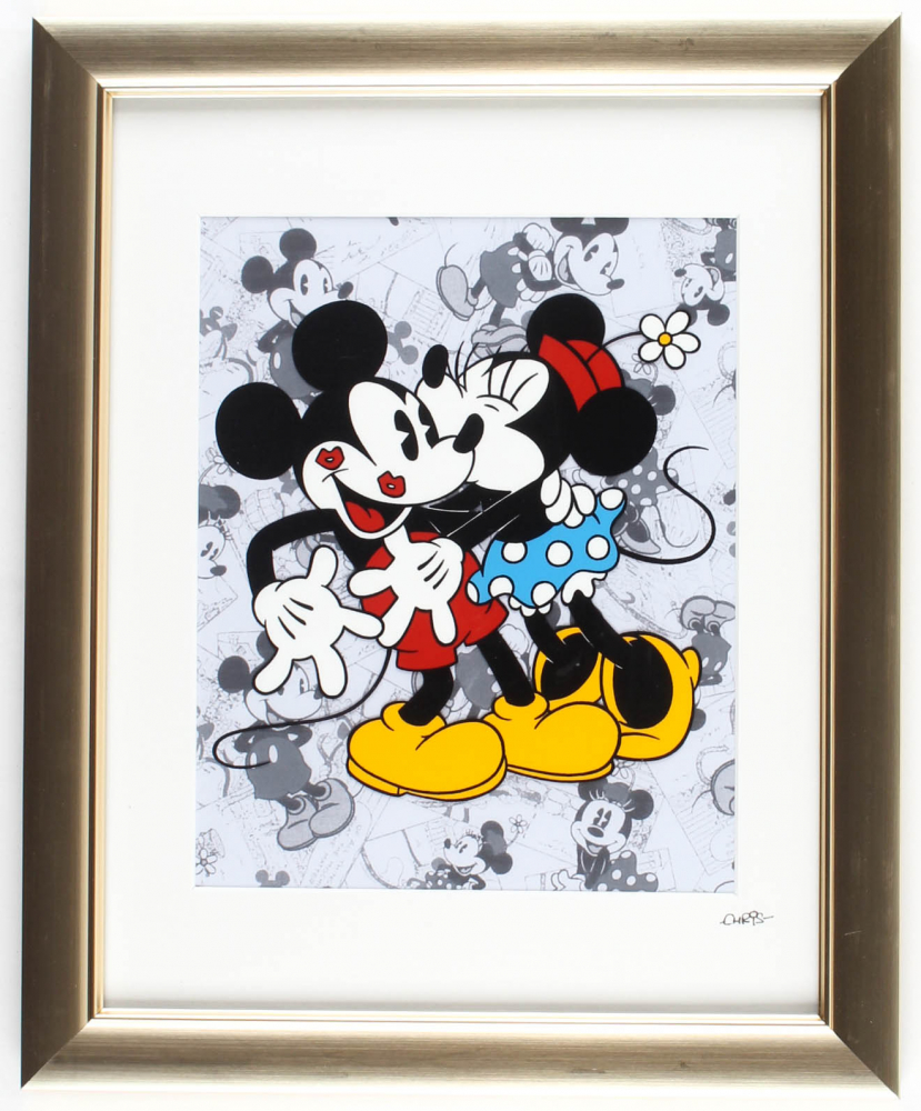"""Walt Disney's """"Mickey & Minnie Mouse"""" 13x16 Custom Framed Hand-Painted Animation Cel Display at PristineAuction.com"""