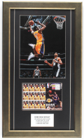 Kobe Bryant Lakers 15.5x26.5 Custom Framed Photo Display with Original Uncut Postage Stamp Sheet at PristineAuction.com