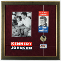 John F. Kennedy 22.5x22.5 Custom Framed Photo Display with (4) Original 1960 Presidential Campaign Items including Pamphlet, Campaign Pin & Refractor Pin at PristineAuction.com