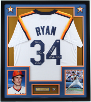 Nolan Ryan Signed 32x36 Custom Framed Jersey with (5) Inscriptions & Ryan Pin (PSA COA) at PristineAuction.com