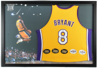 Kobe Bryant Signed Lakers 35x50 Custom Framed Jersey Display with (5) NBA Finals Patches (PSA Hologram) at PristineAuction.com