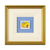 "Peter Max Signed ""Umbrella Sage I"" Limited Edition 13x13 Custom Framed Lithograph #71/500 at PristineAuction.com"