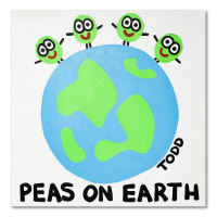 """Todd Goldman Signed """"Peas On Earth"""" 48x48 Original Acrylic Painting on Gallery Wrapped Canvas at PristineAuction.com"""
