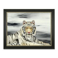 "Martin Katon Signed ""White Tiger"" 47x37 Custom Framed Original Oil Painting on Canvas at PristineAuction.com"