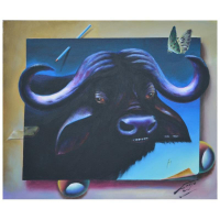 """Ferjo Signed """"Water Buffalo"""" 20x24 Original Painting on Canvas at PristineAuction.com"""