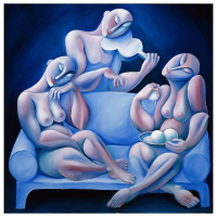 "Yuroz Signed ""The Light Blue Couch"" Limited Edition 36x36 Serigraph on Canvas at PristineAuction.com"