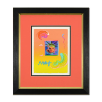 "Peter Max Signed ""Liberty Head II"" 19x21 Custom Framed One-Of-A-Kind Acrylic Mixed Media at PristineAuction.com"