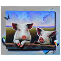 "Ferjo Signed ""Little Piggies"" 24x30 Original Painting on Canvas at PristineAuction.com"