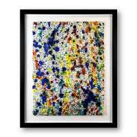 """Wyland Signed """"Abstract"""" 38x31 Custom Framed Original Painting on Paper at PristineAuction.com"""