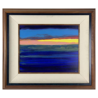 "Wyland Signed ""End of Summer"" 26x30 Custom Framed Original Painting on Board at PristineAuction.com"