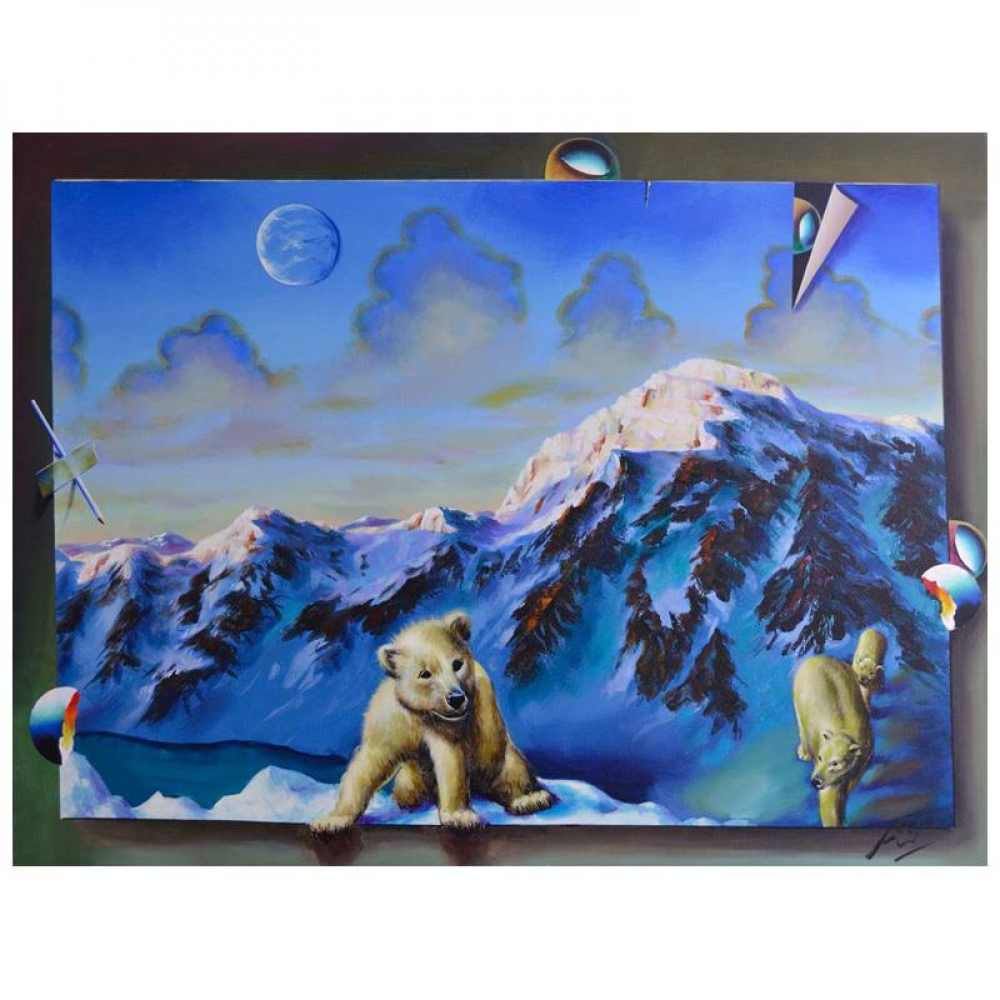 "Ferjo Signed ""Curious Polar Bear Cubs"" 30x40 Original Painting on Canvas at PristineAuction.com"