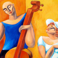 "Yuroz Signed ""The Cello"" Limited Edition 48x32 Serigraph on Canvas at PristineAuction.com"