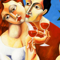 """Yuroz Signed """"Toast To Love"""" Limited Edition 40x30 Serigraph on Canvas at PristineAuction.com"""