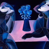 """Yuroz Signed """"Table Of Negotiation"""" Limited Edition 36x48 Serigraph on Canvas at PristineAuction.com"""
