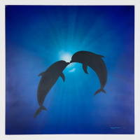 "Wyland Signed ""Angels of the Sea"" 36x36 Original Painting on Board at PristineAuction.com"
