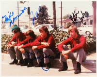 The Monkees 8x10 Photo Band-Signed by (4) with Davy Jones, Micky Dolenz, Peter Tork & Michael Nesmith (PSA LOA) at PristineAuction.com