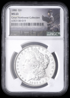 1886 Morgan Silver Dollar - Great Northwest Collection (NGC MS63) at PristineAuction.com
