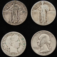 Lot of (4) Quarters With Standing Liberty, Barber & Early Washington Quarters at PristineAuction.com