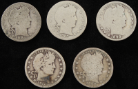 Lot of (5) Barber Quarters at PristineAuction.com