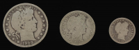 Lot of (3) Barber Silver Coins with 1909 Half-Dollar, 1907-O Quarter Dollar, & 1898 Dime at PristineAuction.com